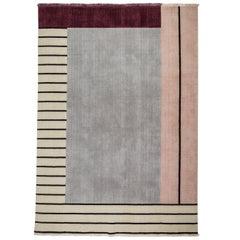 Walkway Pink - Geometric Grey Maroon Beige Wool Rug with Lines by Carpets CC