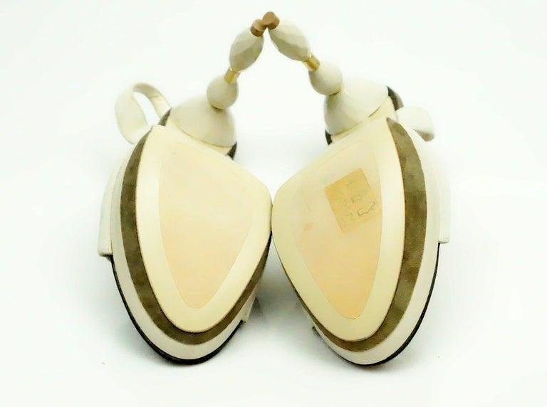 Women's Grey Mer Bone Suede Sandal w/ Acrylic Heel - 37 For Sale