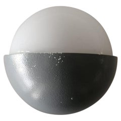 Grey Metal and White Round Glass Single Sconce by BEGA, 1960s, Germany