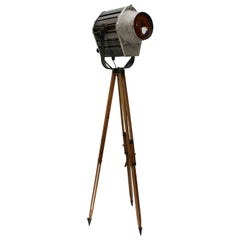 Grey Metal Film Theater Spot Wooden Tripod Light Floor Lamp