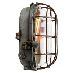 Grey Metal Vintage Industrial Clear Glass Wall Lamp Scone