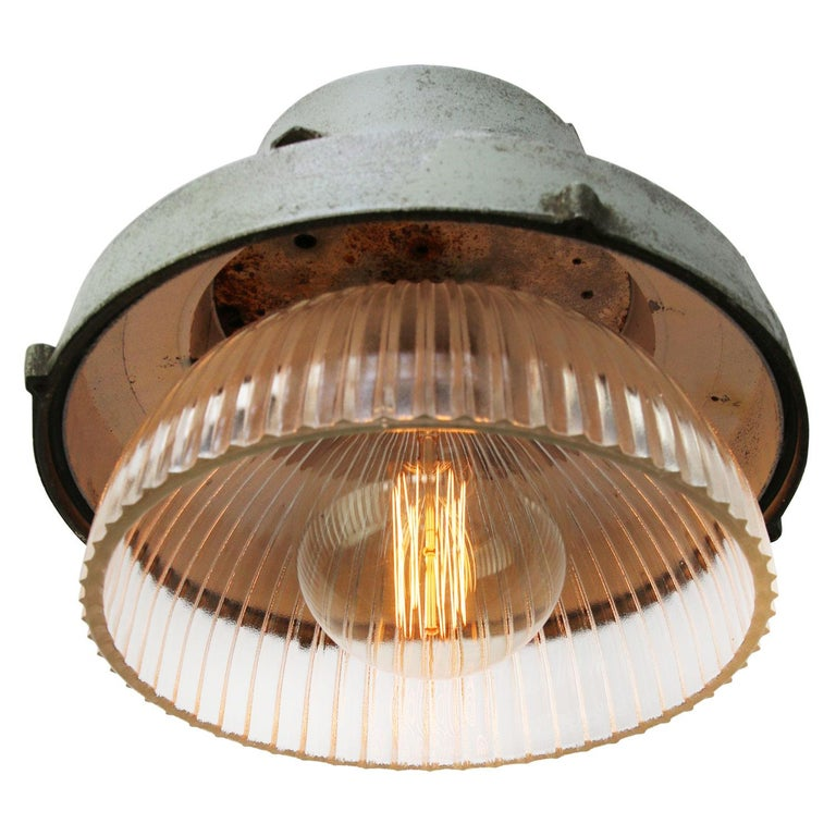 Czech Grey Metal Vintage Industrial Clear Striped Holophane Glass Pendant Lamp For Sale