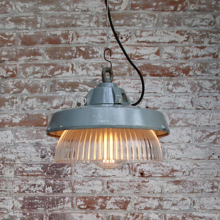 20th Century Grey Metal Vintage Industrial Clear Striped Holophane Glass Pendant Lamp For Sale