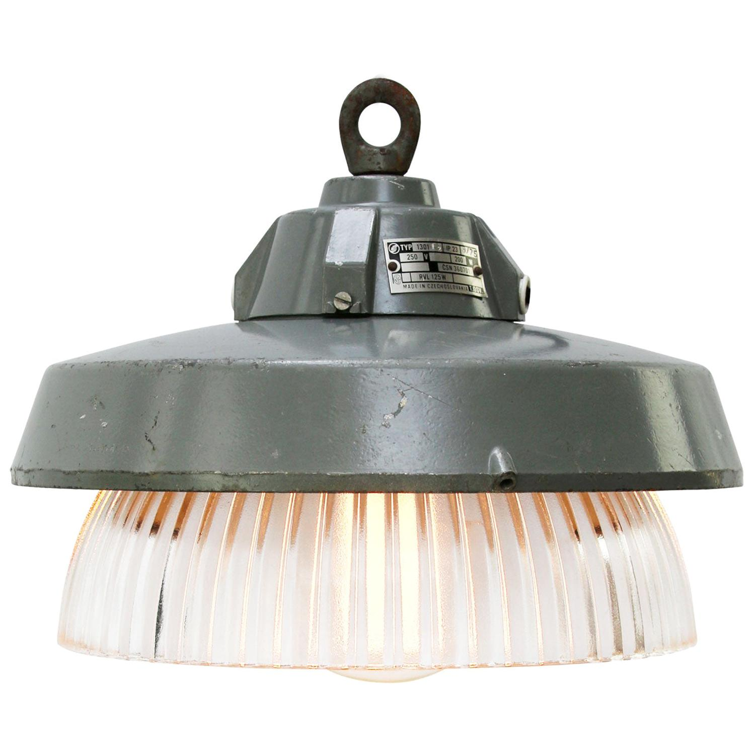 Grey Metal Vintage Industrial Clear Striped Holophane Glass Pendant Lamp