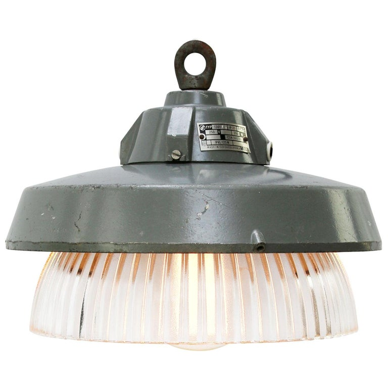 Grey Metal Vintage Industrial Clear Striped Holophane Glass Pendant Lamp For Sale
