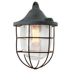Grey Metal Vintage Industrial Frosted Glass Hanging Cage Lamp