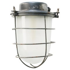 Grey Metal Vintage Industrial Frosted Glass Pendant Lamp