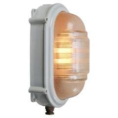 Grey Metal Vintage Industrial Prismatic Glass Bulkhead Wall Lamp Scone