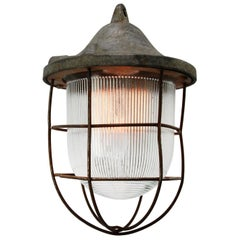 Grey Metal Vintage Industrial Striped Glass Hanging Cage Lamp