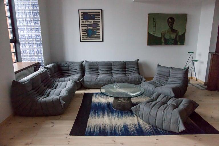 Grey Microfibre Togo Sofa Set by Michel Ducaroy for Ligne Roset, Set of Five