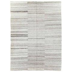 Grey Mid-20th Century Handmade Turkish Flat-Weave Kilim Accent Rug