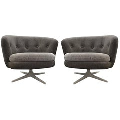 Grey Mid-Century Scandinavian Swivel Chairs