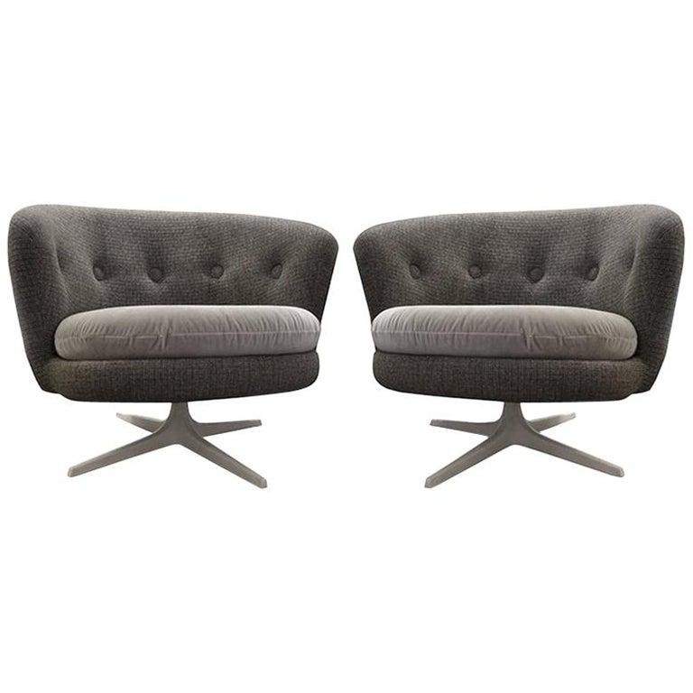 Grey Mid-Century Scandinavian Swivel Chairs