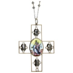 Grey Milky and White Diamond Holy Image Handmade in Italy Cross Pendant Necklace