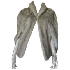 Grey mink fur cape