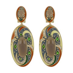 Grey Moon Stone and Chrome Diopside Studded Color Enamel Earrings  14 Karat Gold