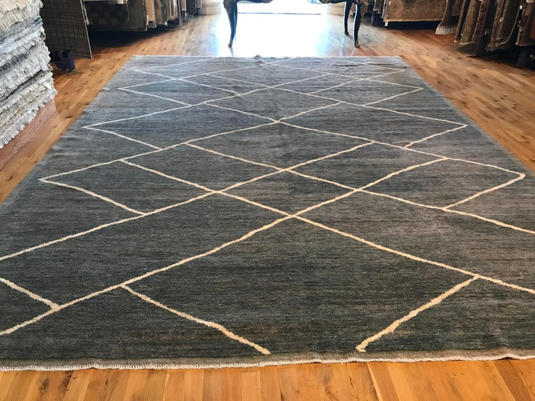 Hand-Knotted Grey Moroccan Diamonds Design Rug For Sale