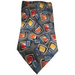 Grey multicoloured tie