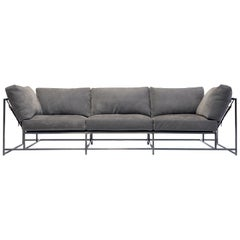Grey Nubuck Leather and Antique Nickel Sofa
