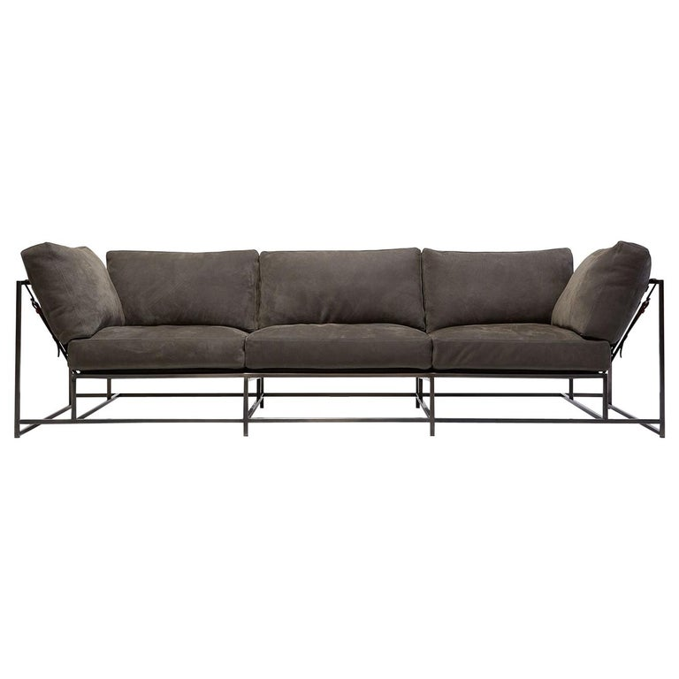 Grey Nubuck Leather And Antique Nickel Sofa For Sale At
