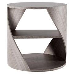 Grey Oak Decorative Nightstand, MYDNA Side Table by Joel Escalona