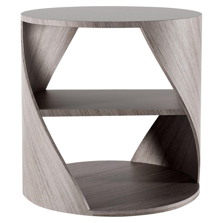 Grey Oak Decorative Nightstand, MYDNA Side Table by Joel Escalona For Sale