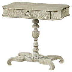 Grey Oak Pedestal Side Table