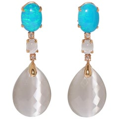 Grey Opal, Quartz and White Diamond on Rose Gold 18 Karat Chandelier Earrings
