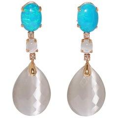 Grey Opal, Quartz and White Diamond on Rose Gold 18 Karat Chandelier Earrings