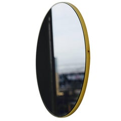 Black Orbis Round Mirror with Brass Frame Dia. 79cm / 31.1""