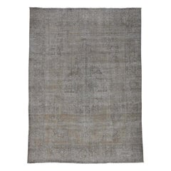 Grey Overdyed Persian Tabriz Worn Hand Knotted Oriental Rug