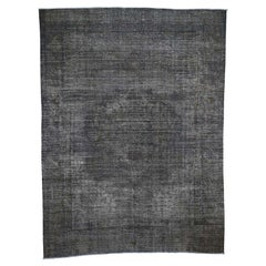 Grey Overdyed Persian Tabriz Worn Pile Hand Knotted Oriental Rug