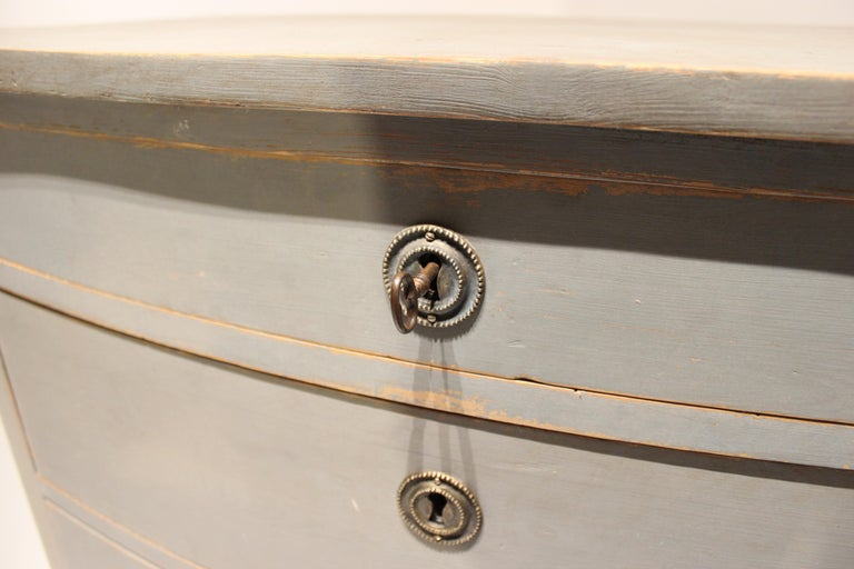 Wood Grey Painted Chest of Drawers in the Style of Gustavian, 1880s For Sale