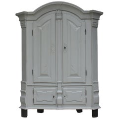 Grey Painted German Baroque Armoire, 18th Century