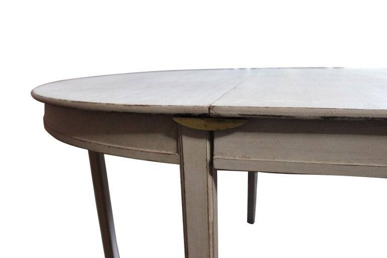 Grey Painted Gustavian Dining Set with Dining Table and Chairs For Sale 5