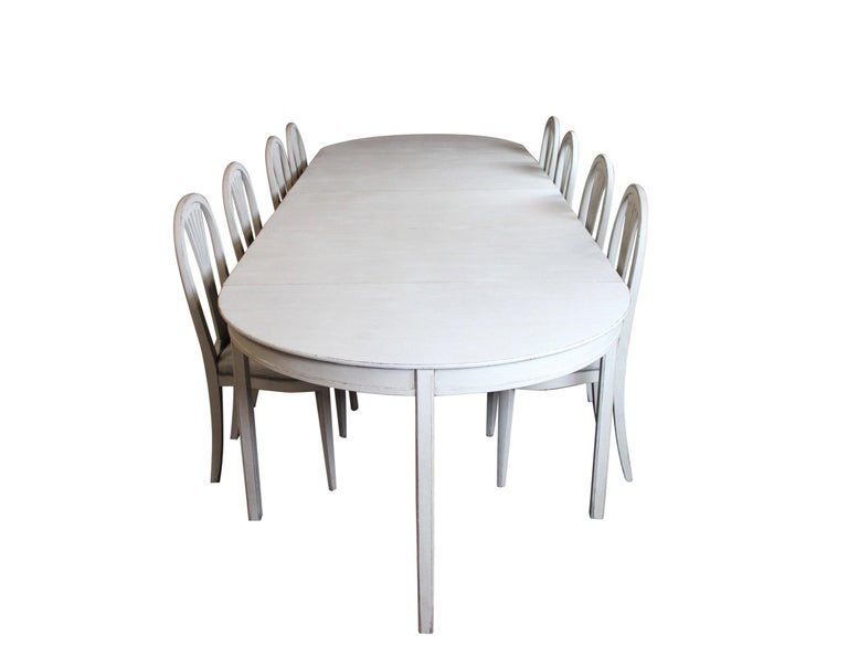 Grey Painted Gustavian Dining Set with Dining Table and Chairs For Sale 6