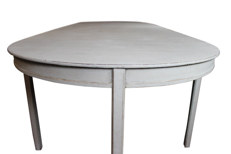 Grey Painted Gustavian Dining Set with Dining Table and Chairs For Sale 2