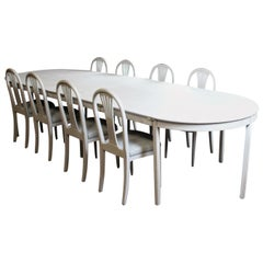 Grey Painted Gustavian Dining Set with Dining Table and Chairs