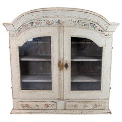 Grey Painted Hanging Glass Cabinet in Gustavian Style from circa 1820