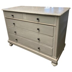 Grey Painted Marble-Top Chest of Drawers
