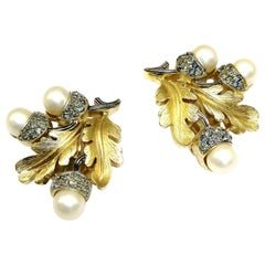 Grey paste and pearl 'acorn' earrings, Trifari, 1950s