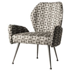 Grey Patterned Fabric Contemporary Dining Armchair by Hessentia with Metal Legs
