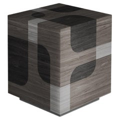 Grey Patterned Wood Auxiliar Table Bodega Collection by Joel Escalona