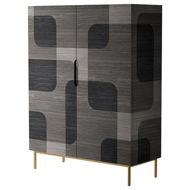 Grey Patterned Wood Cabinet from Bodega Collection by Joel Escalona