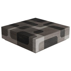 Grey Patterned Wood Coffee Table Bodega Collection by Joel Escalona