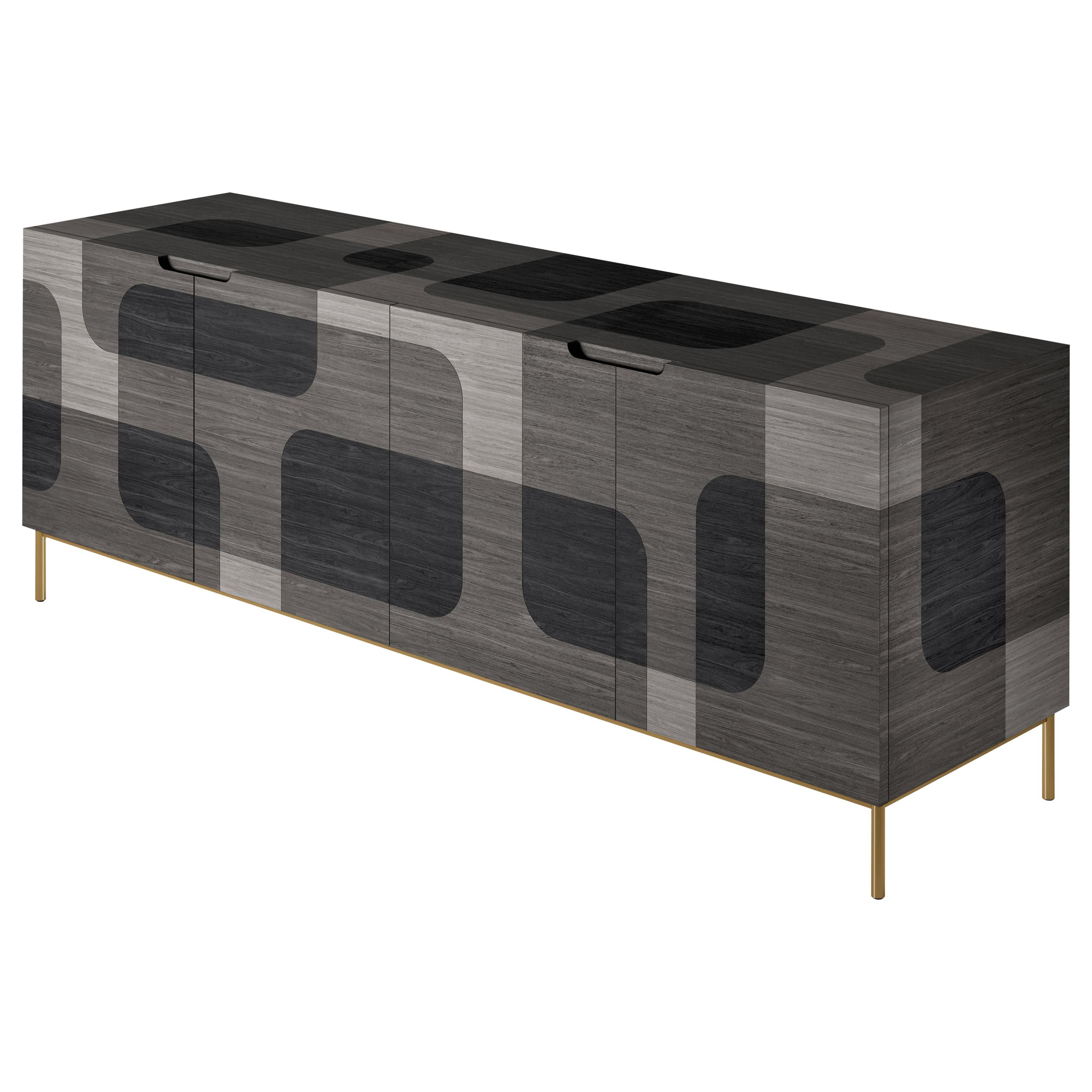 Grey Patterned Wood Credenza from Bodega Collection by Joel Escalona