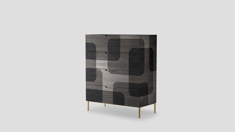 The depth of one object goes beyond its dimensions.  Bodega dresser is a furniture piece that by its material and colors simulates the three-dimensional sensation generated by one surface flying over another. Where darkness dominates light dramatic