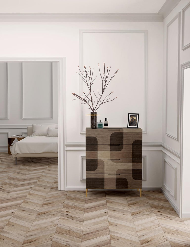 Contemporary Grey Patterned Wood Dresser from Bodega Collection by Joel Escalona For Sale