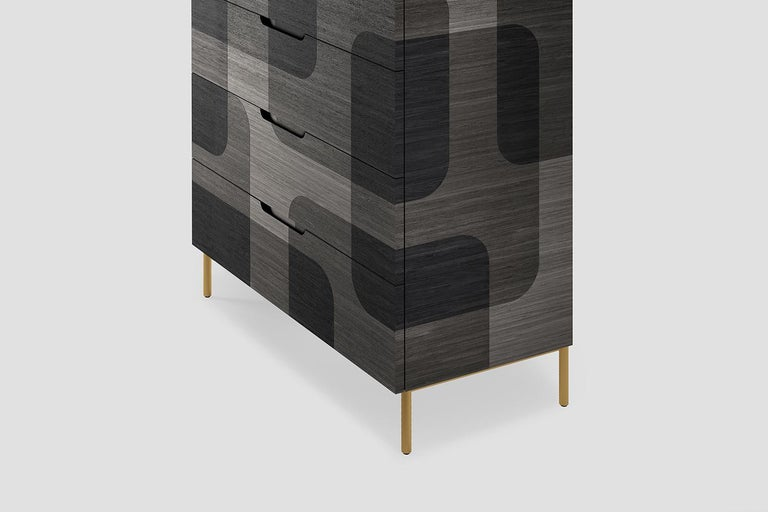 Plywood Grey Patterned Wood Dresser from Bodega Collection by Joel Escalona For Sale
