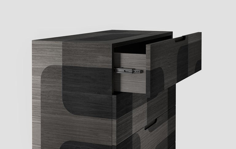 Grey Patterned Wood Dresser from Bodega Collection by Joel Escalona For Sale 1